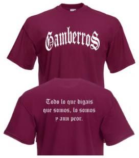 Camiseta Gamberros Clasica Granate con espalda