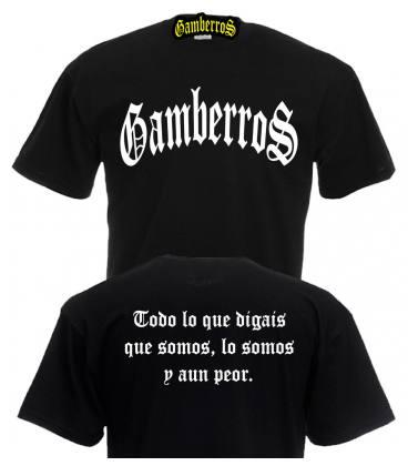Camiseta Gamberros Clasica Negra con espalda