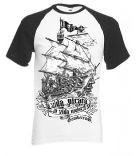 Camiseta Gamberros La Vida Pirata Bicolor