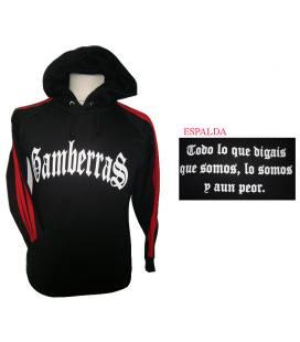 Sudadera con capucha Gamberras Clásica negra con rayas rojas