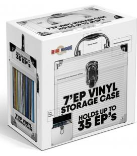 "Caja de Aluminio para 35 vinilos de 7"" con solapa abatible. Color Silver"