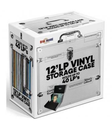 "Caja de Aluminio para 40 vinilos de 12"", con solapa abatible. Color Plata"