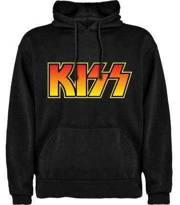Kiss Logo Vintage Sudadera con capucha y bolsillo