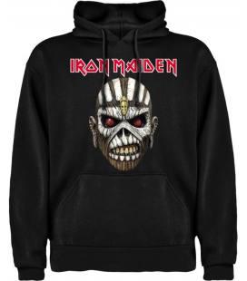 Iron Maiden Mask Sudadera con capucha y bolsillo