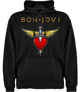 Bon Jovi Heart Sudadera con capucha y bolsillo