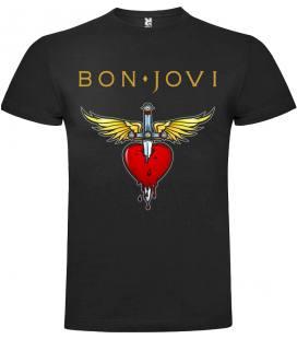Bon Jovi Heart Camiseta Manga Corta Bandas