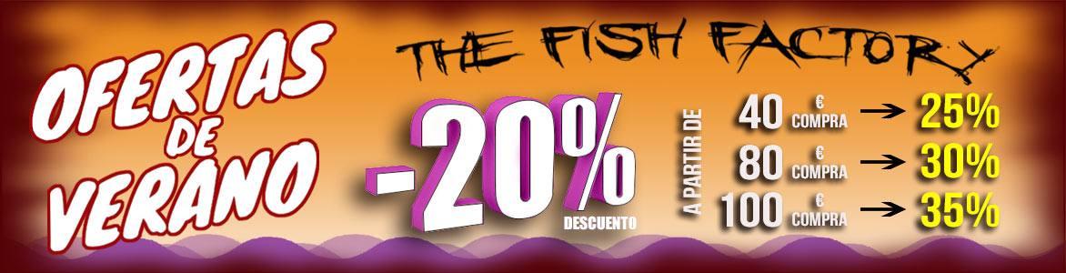 The Fish Factory. 20% Descuento en todo el sello. A partir de 40€ de compra, 25% descuento; desde 80€ de compra, 30% dto., y desde 100€ de compra, 35% descuento