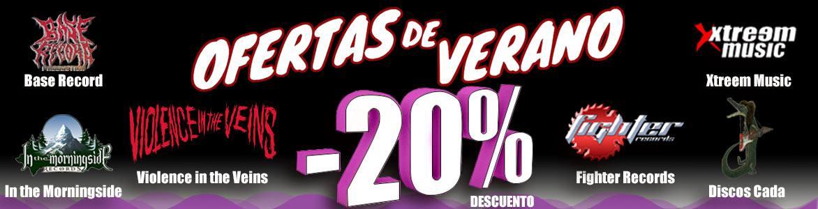 Ofertas de Verano. 20% DTO en los sellos: Base Records, Fighter Records. Xtreem Music, Discos Cada e In The Morningside Records